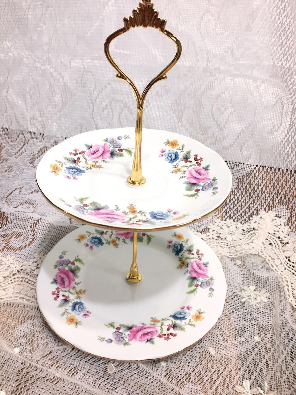 1번 영국 로얄 알버트 2단 접시 꽃무늬가 러블리한 미니 케이크 스탠드 사이즈 밑접시 16, 윗접시 14, 높이23.5cm   2번  ...